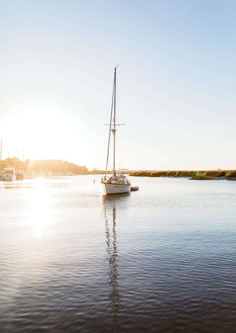 Beaufort's harbor is on the Intracoastal Waterway, about 60 nautical miles from Charleston.