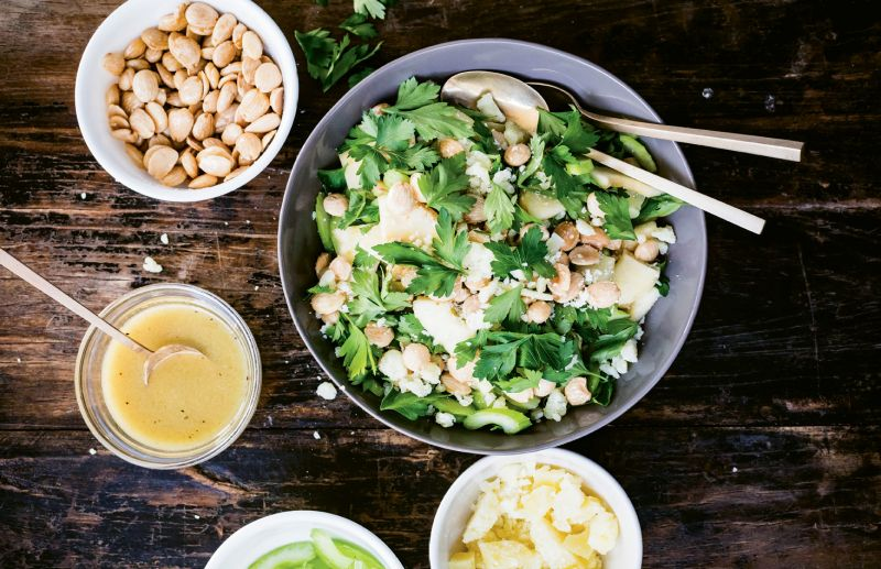 Apples, almonds, and buttery Manchego cheese combine for a simple and sweet brunch salad.