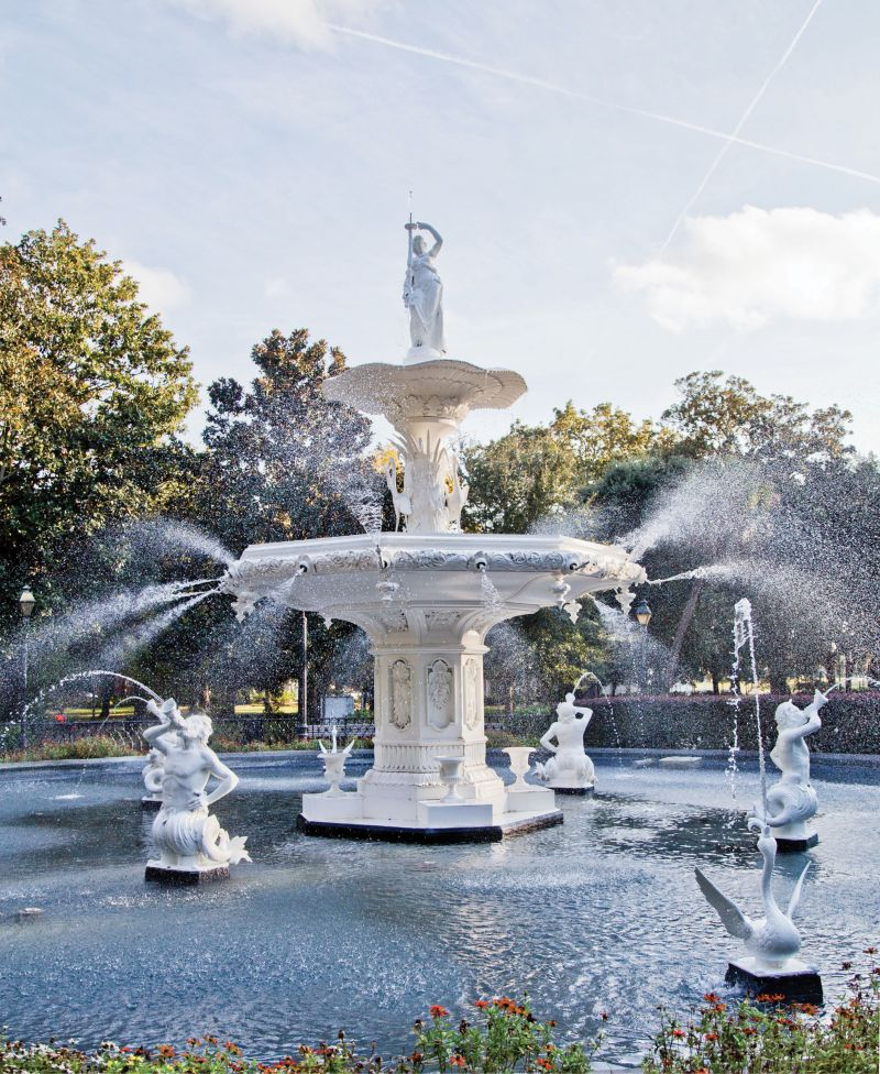 In the most historic parts of Savannah it's all about the squares, public green spaces with pathways and monuments or fountains—such as this one in Forsyth Park—every couple of blocks downtown.