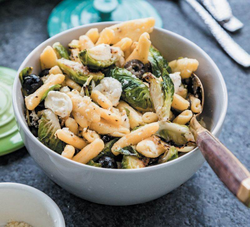 Pasta salad tossed with lemon-pepper dressing can be served warm, cold, or at room temperature. Postell likes to refrigerate the dish overnight—letting the flavors sink in—and serve it the next day.