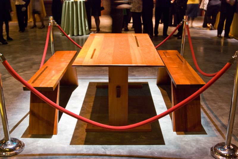This hand-crafted trestle dining table was up for auction