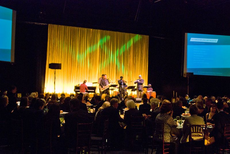 Guests enjoy live music by The Charleston Latin-Jazz Collective