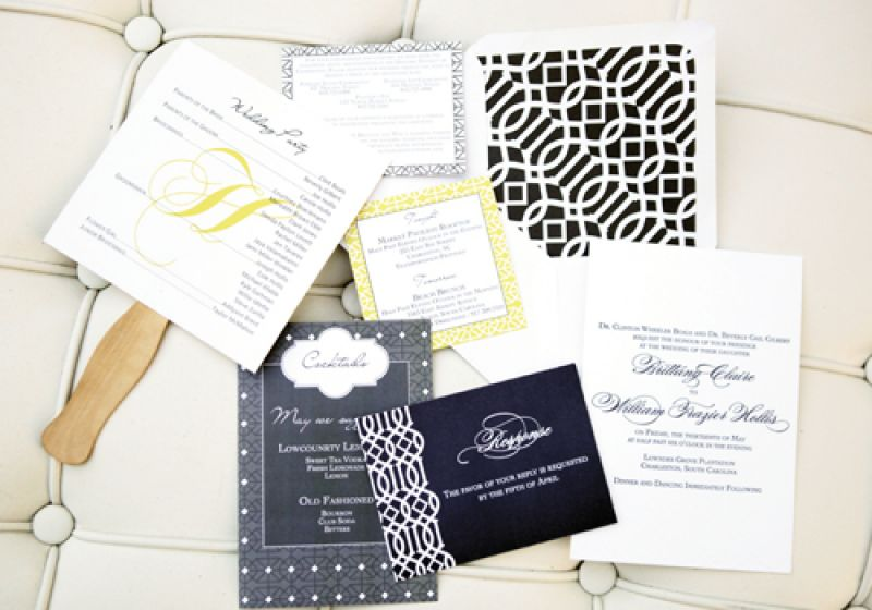 PRETTY IN PRINT: Scotti Cline Designs created formal stationery with pops of yellow and a touch of gray.