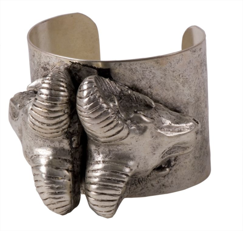 """Silver """"Double Ram Cuff"""" by Melvin, $282 at JAMES"""