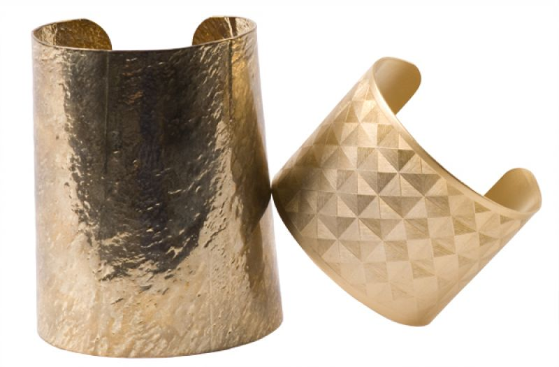 Large hammered plated gold cuff and medium plated gold cuff with pyramid design by Whitley V, $45 & $40 at Copper Penny