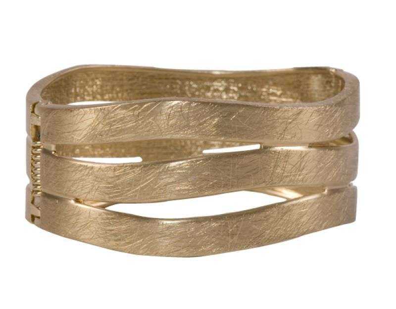 Gold brushed cutout bangle by Golden Stella, $30 at Thera M