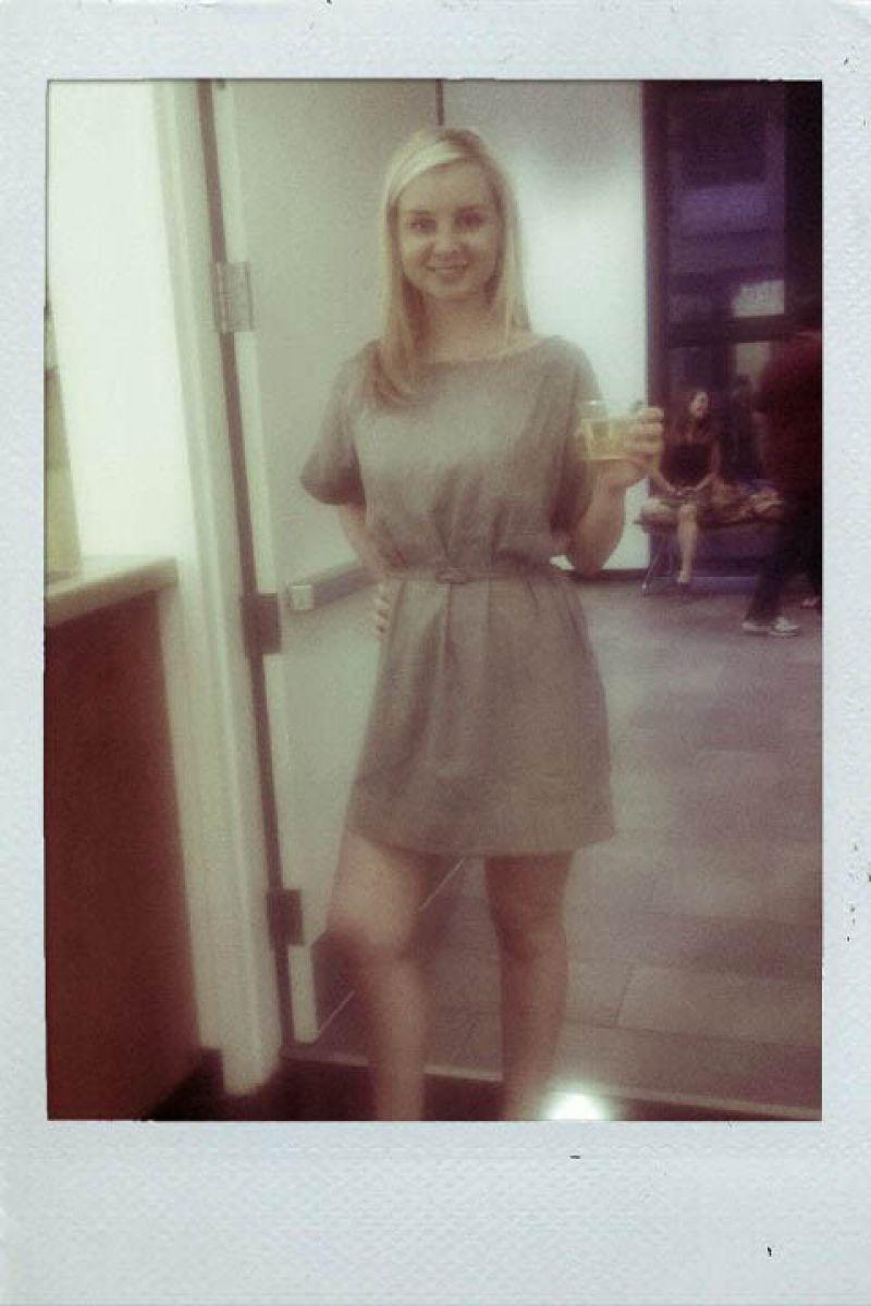 Spoleto Scene PR girl, Jessie, in sexy grey shift dress.