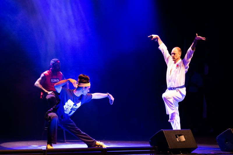 """Hosts Ryan Becknell and Geoff Richardson, perform a kung-fu-themed opening act entitled """"Lips of Fury"""""""