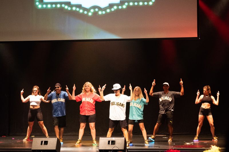 Heather Holmquest and her backup dancers from Peace Love Hip Hop deliver a Bruno Mars medley.