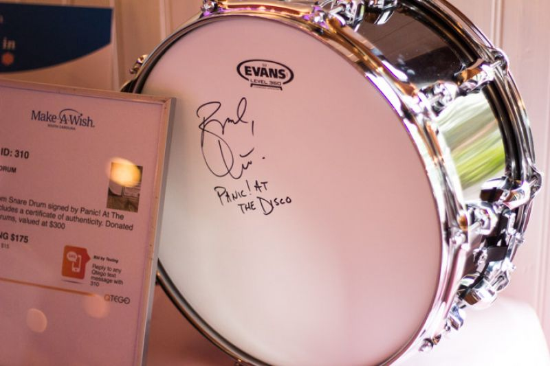 A signed drum from Brendon Urie of Panic! at the Disco up for auction