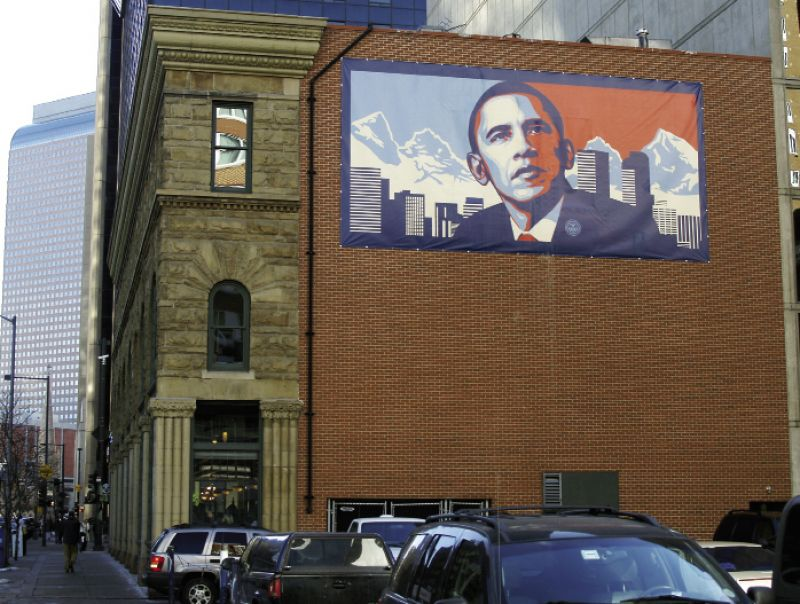 a large mural incorporating his Obama portrait in Denver, Colorado, in 2009
