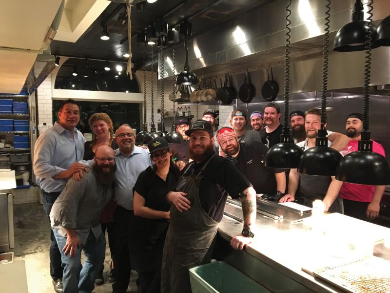 "Palmer and Bakst with the F&B crew who worked last fall's ""Switcheroo"" at Edmund's Oast to benefit Ben's Friends"