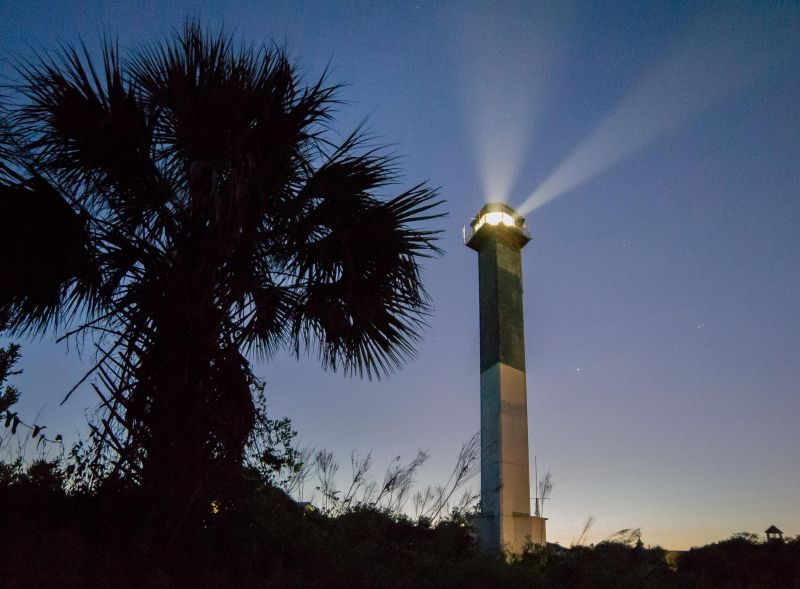 "HONORABLE MENTION Amateur category: Sullivan's Island Lighthouse by Jay Upchurch; ""Sullivan's Island Lighthouse right after sunset"""