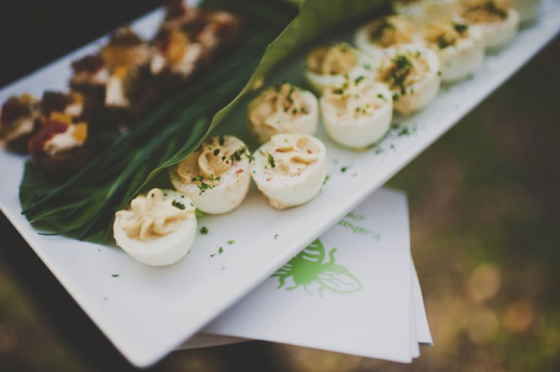 JUST MADE: All food served, like these deviled eggs, was locally grown. A few ingredients were even picked up from the farm en route to the wedding!