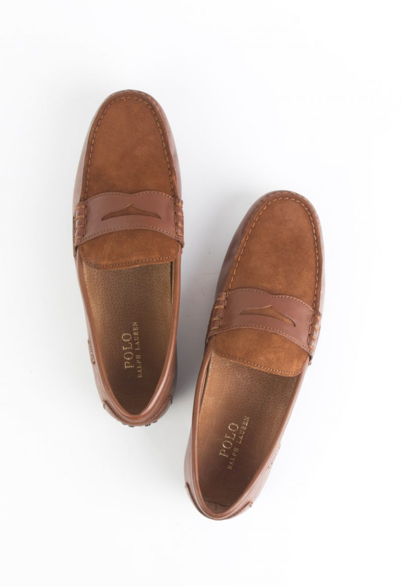 """Polo Ralph Lauren, """"Wes"""" Calfskin Suede driver in """"deep saddle tan/new snuff"""", $100 at Belk"""