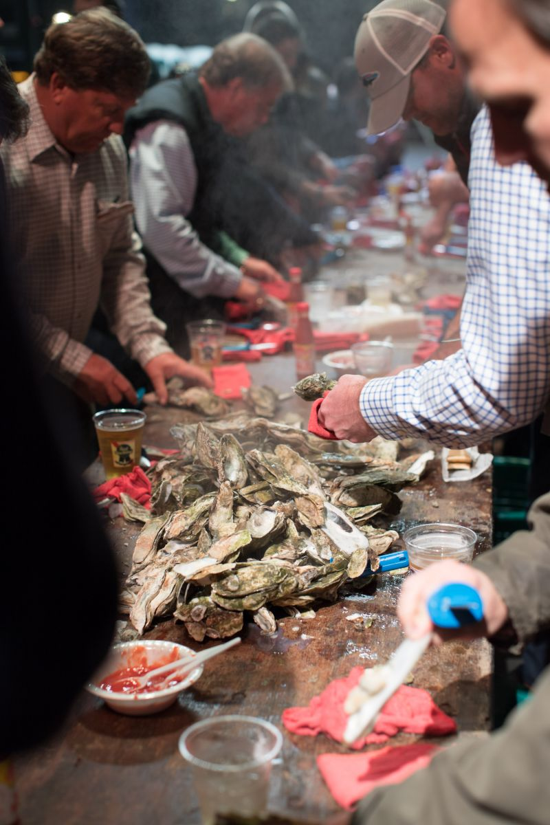 Fresh local oysters were served by the bucketful and quickly devoured by hungry shuckers.