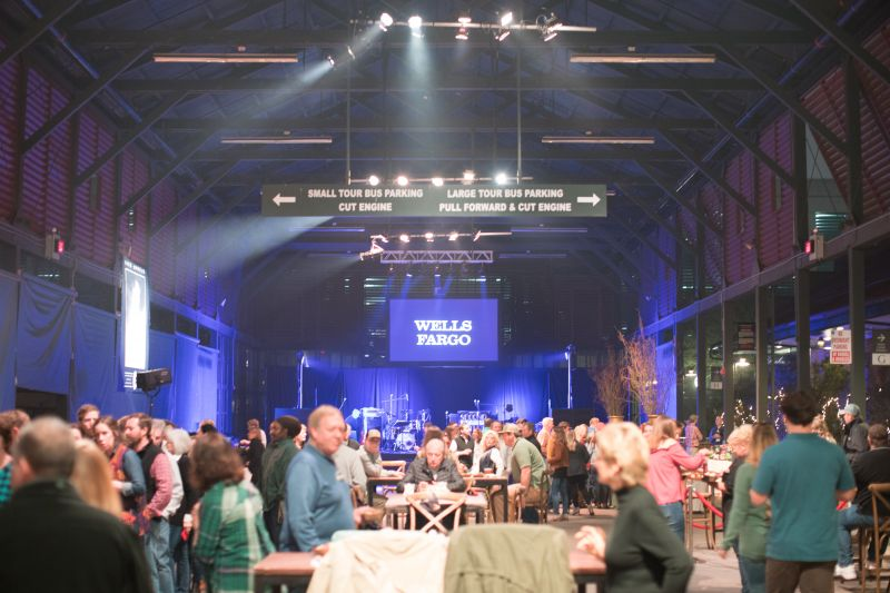 Party-goers flooded the Visitor Center Bus Shed for an evening of music, dancing, and dining.