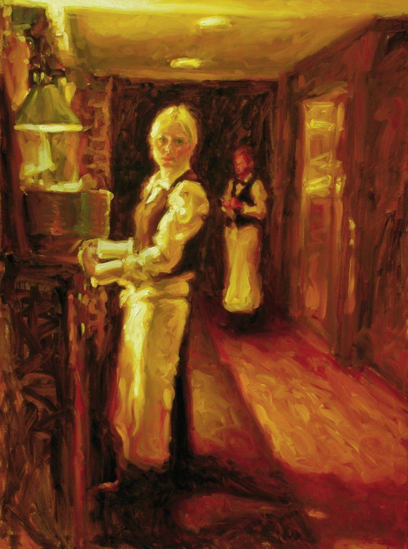 """Waitress at Oak, 2011, 48"""" x 36"""", oil on linen"""