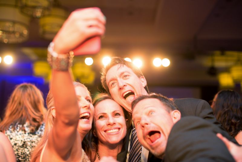 Friends took selfies to capture memories of the night.