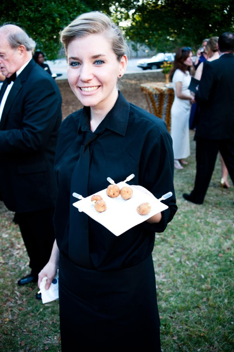 Guests enjoyed crab fritters with a cream corn pipette