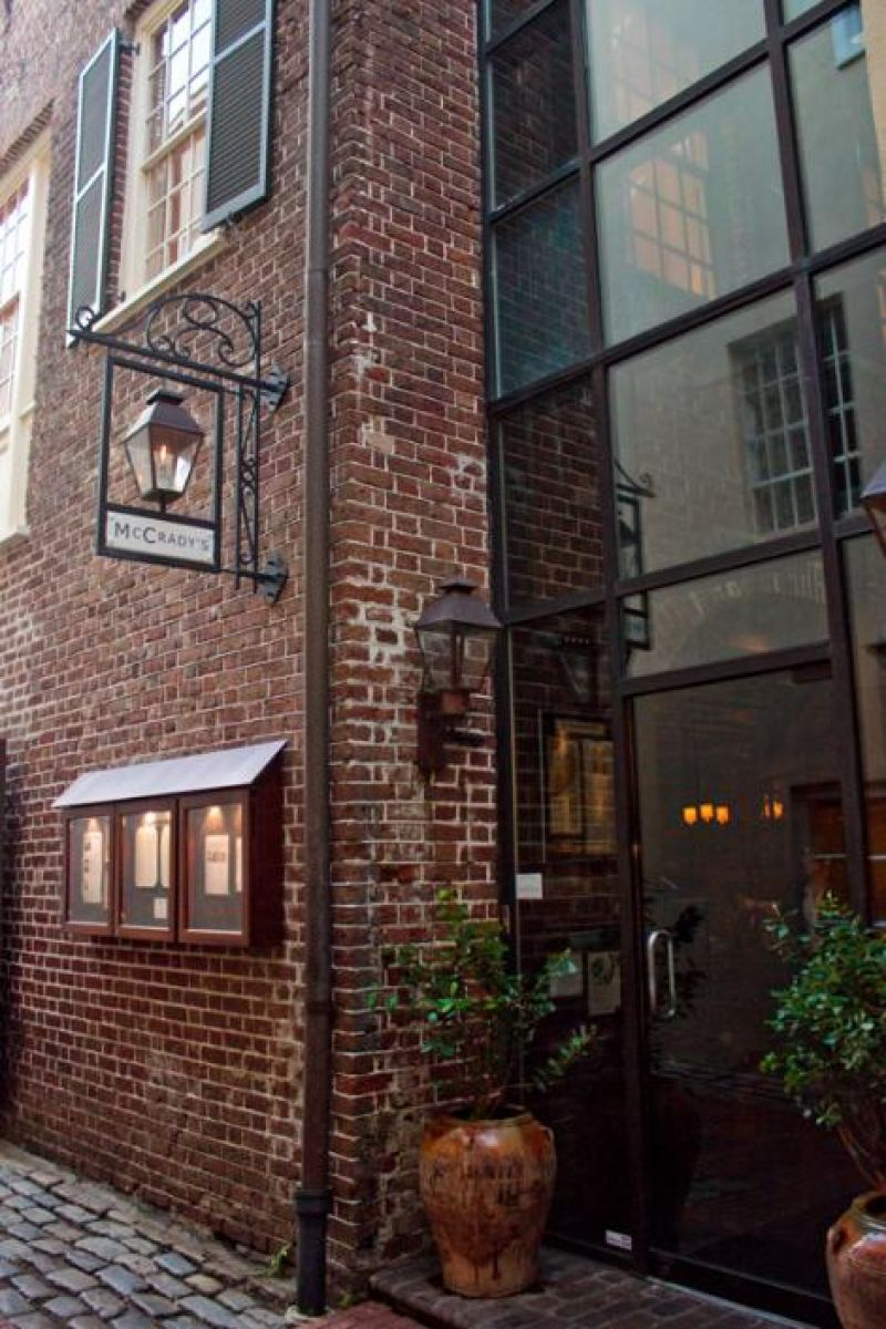 The entrance to McCrady's, where the night's festivities took place.