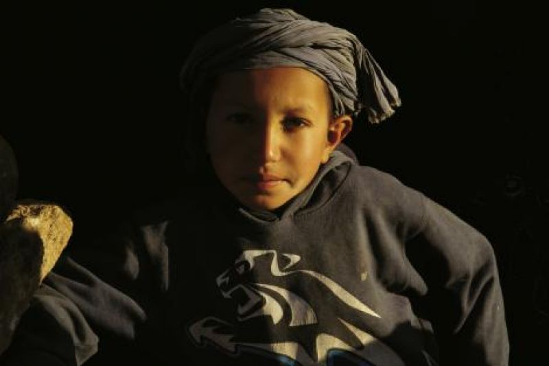 A young boy from a nomadic Berber family who the crew filmed in the Sahara desert.