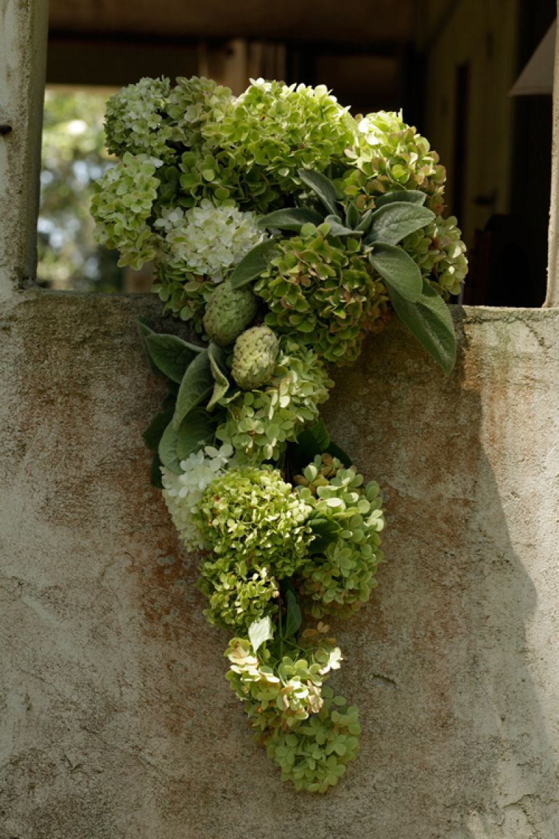 Sometimes the bouquets we request don't make it into the final images. This one was inspired by a runway bouquet and re-created from hydrangeas by Marianne Caldwell (owner and event designer of RiverOaks) and her daughter, Jennigray Hewitt, who oversees the florals for events at RiverOaks.
