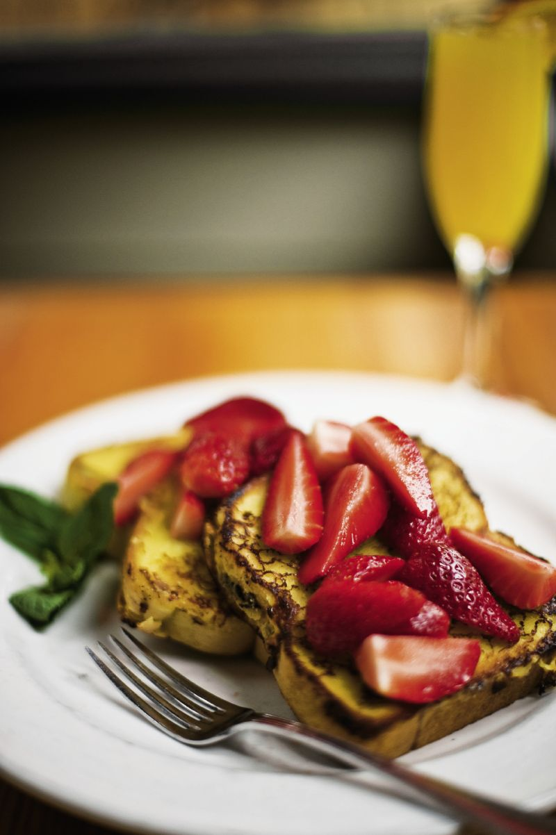 "Fat Hen's crème brûlée French toast topped with strawberries is out of this world."" – Camilla Nilsson, assistant art director"