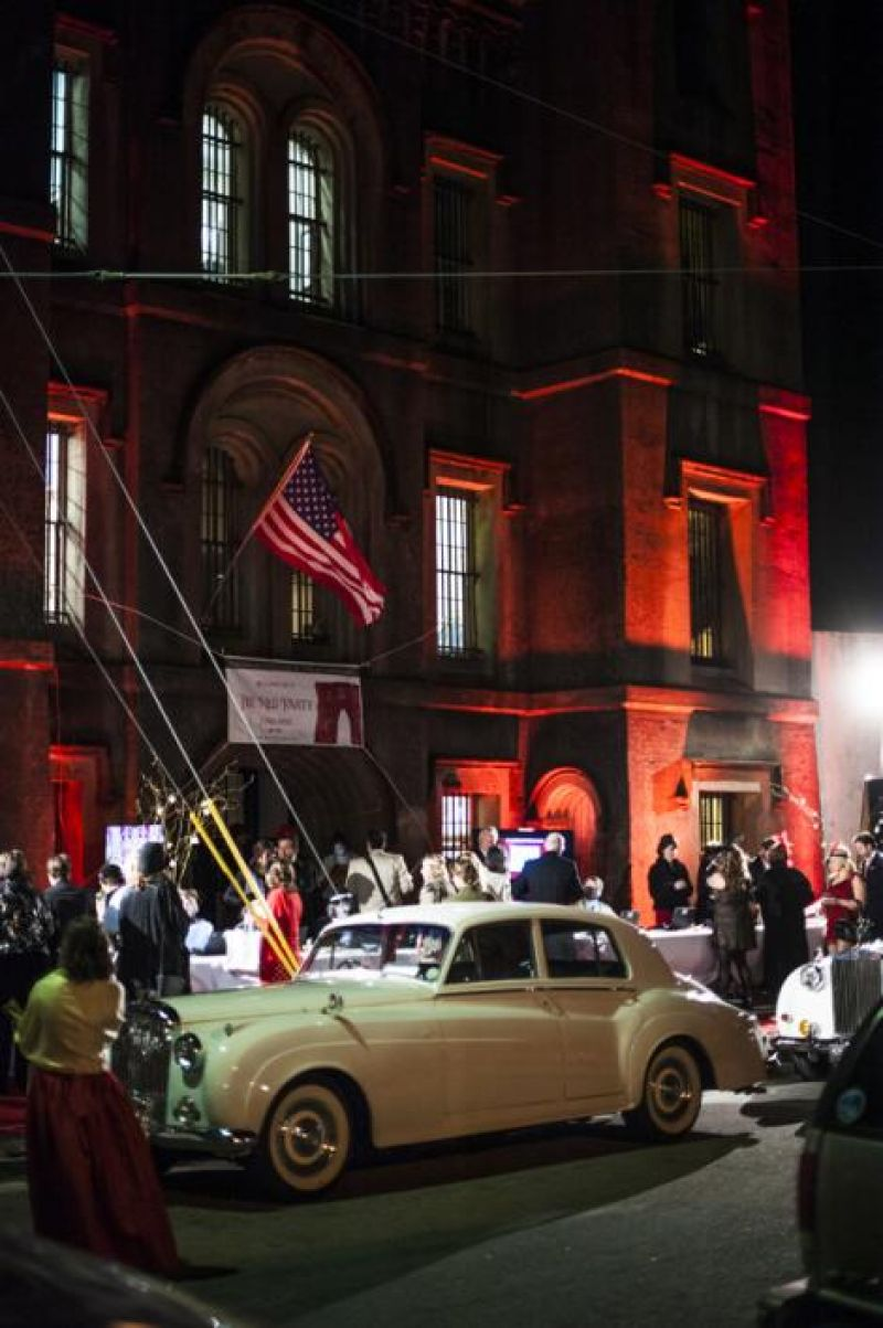 The Old City Jail, lit up for The Red Party, could be seen from blocks away.