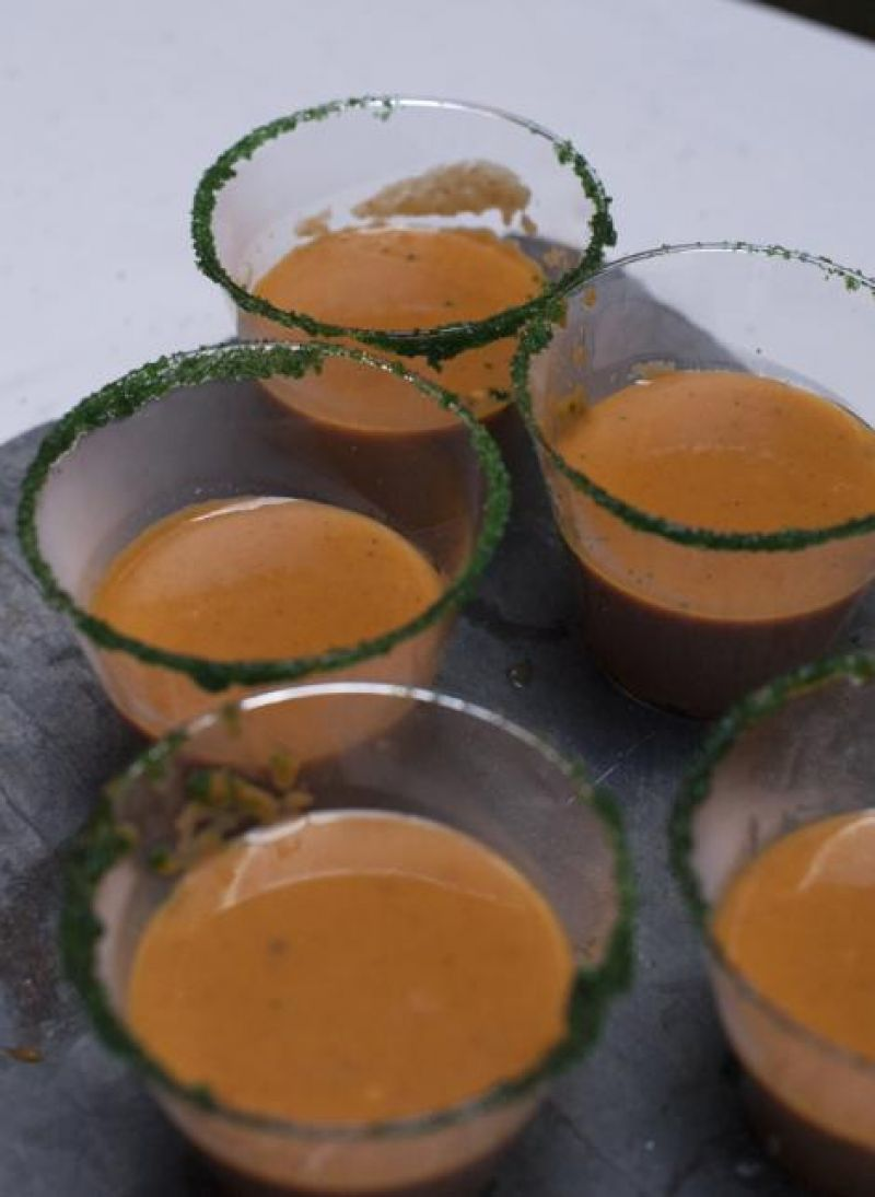 Chipotle pumpkin soup, made exclusively for the Red Party by Healthy Home Foods.