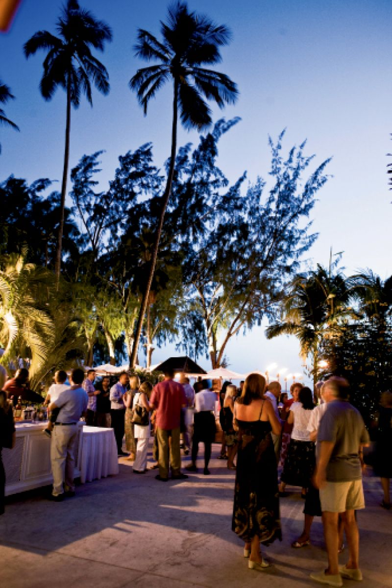 The manager holds regular guest receptions at the Sunset Bar