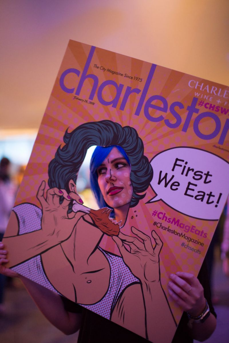Charleston magazine's pop art ladies strolled through the party to pose with guests.
