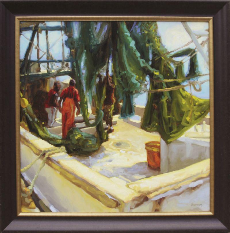 """Fresh Catch, 2008, 36"""" x 36"""", oil on linen"""