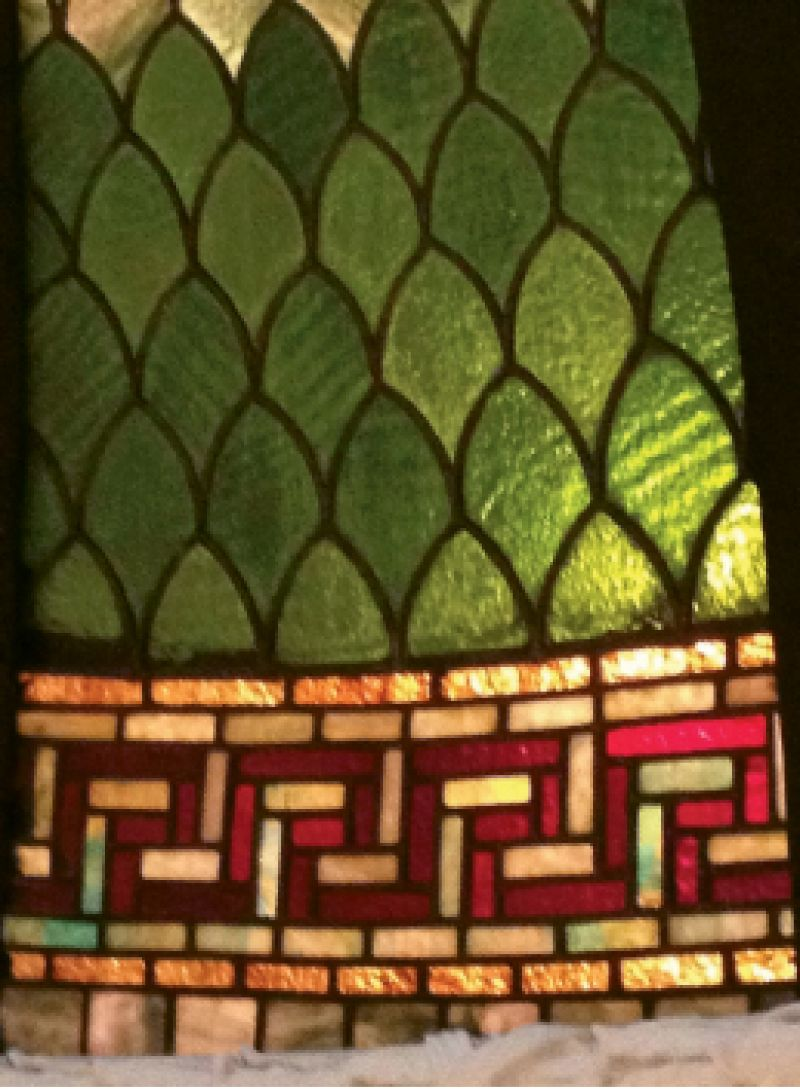 "Detail of the glass; of it Daly wrote in his blog: ""To create the dome, each piece of stained glass was hand cut in the studio. Then, they were assembled into leaded glass panels resting on a large table and soldered into place. At that point, the panels were shipped to the museum."""