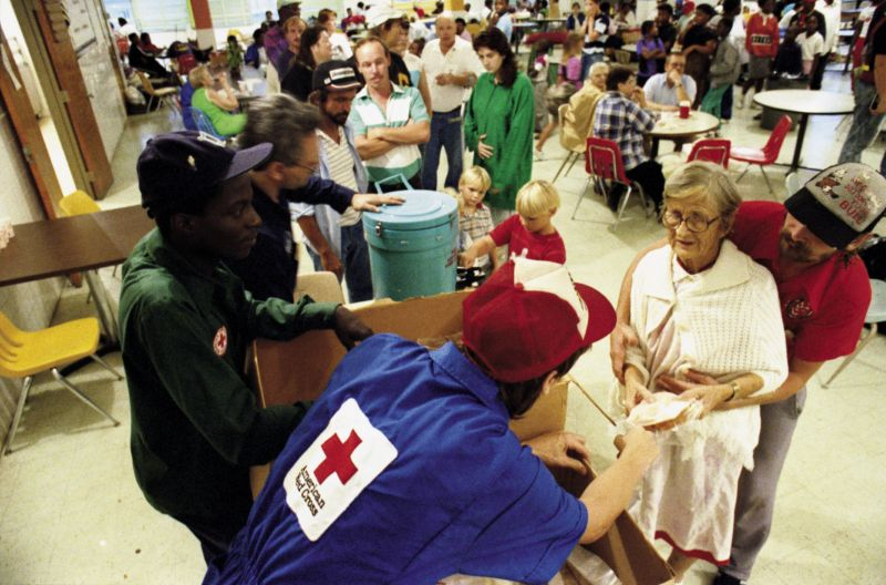 Others queued up at the American Red Cross, which provided meals in numerous shelters and on mobile feeding routes for 30 days
