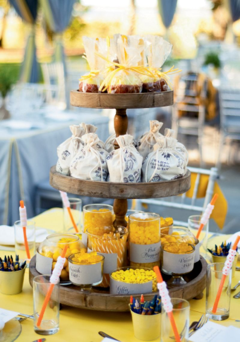 Towering Treats: Calder Clark of Calder Clark Designs fashioned this Halloween-themed kids table for the junior attendees of an October 31 wedding last year.