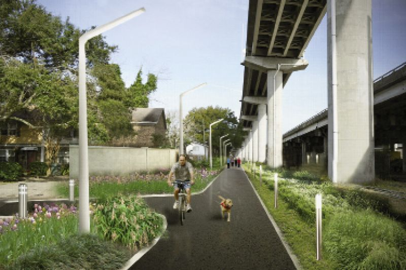 Linear Thinking: Where many see blight, Lindsey sees potential for urban parks and green space, as he designed here for the Charleston Lowline, a proposed linear park along abandoned railways under I-26 that's being championed by Mike Messner and the Speedwell Foundation.