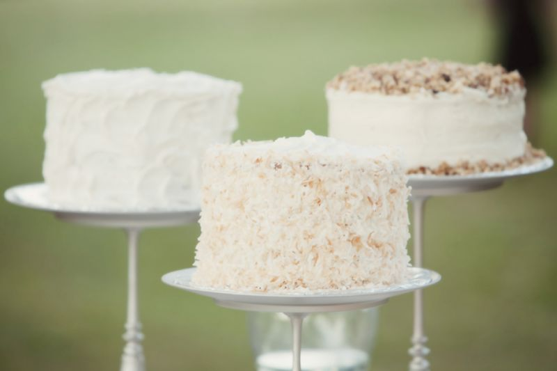 TASTY TRIO: The bride's cousin Elizabeth Guimont created a trio of cakes for the reception: coconut cake with pistachio mousse, carrot cake, and white cake.