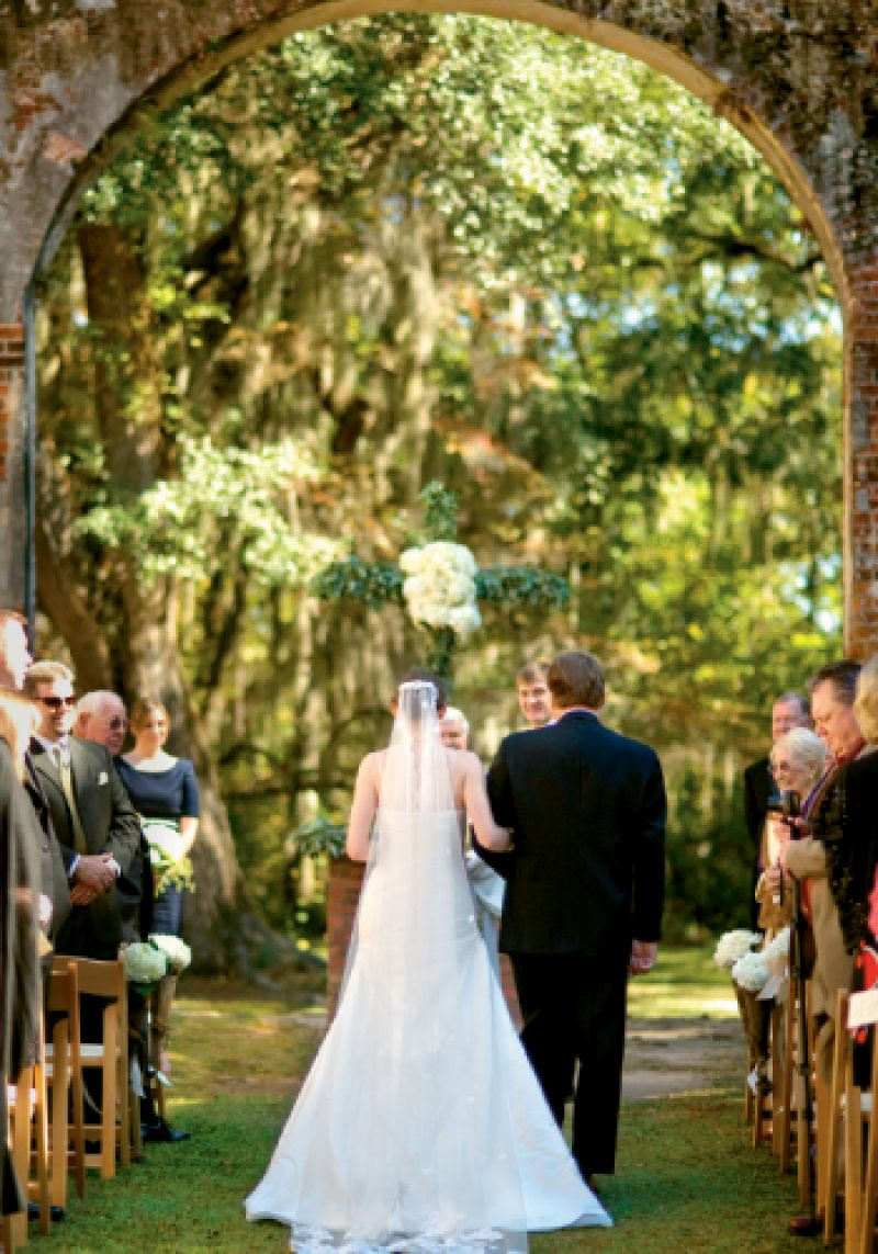 The Old Sheldon Church Ruins outside Beaufort framed Alicia Scherini and Seth Hall's ceremony last November.