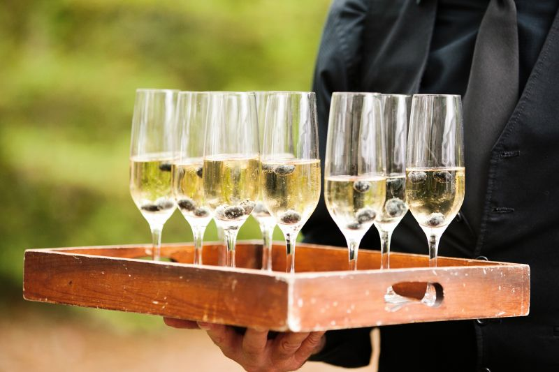 SIP AND SEE: Upon guests' arrival to the ceremony site