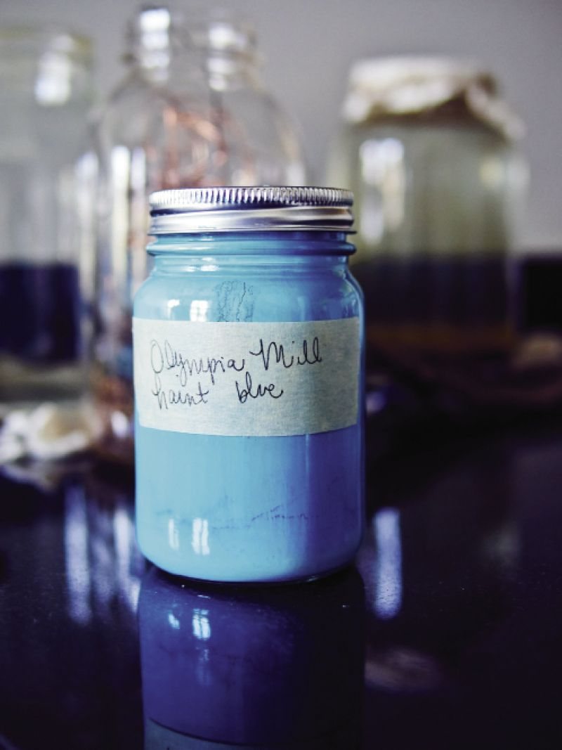 "Blue is a favorite color of Magar's, so she recently learned the South Carolina-born indigo-dyeing process and put it to use in the collection. As a nod to the friendly spirits she's sensed in the historic building, she mixed a custom paint color she calls ""Olympia Mill Haint Blue."""
