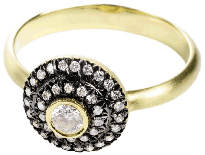 OPPOSITES ATTRACT: 18K  yellow gold and rhodium-plated ring with .3 ct. diamond and accent diamonds (.2 total ct.) Croghan's Jewel Box, $1,520