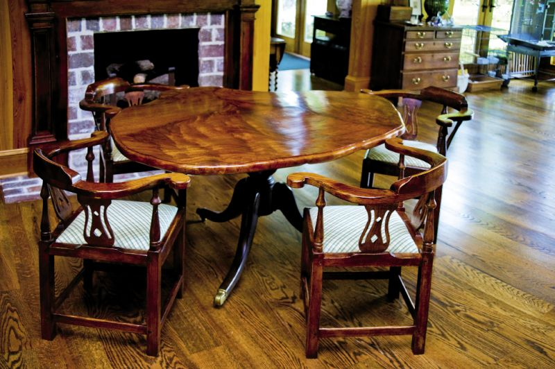 "Honduran mahogany and heart pine table, 2007, 40"" x 36"" x 30"""