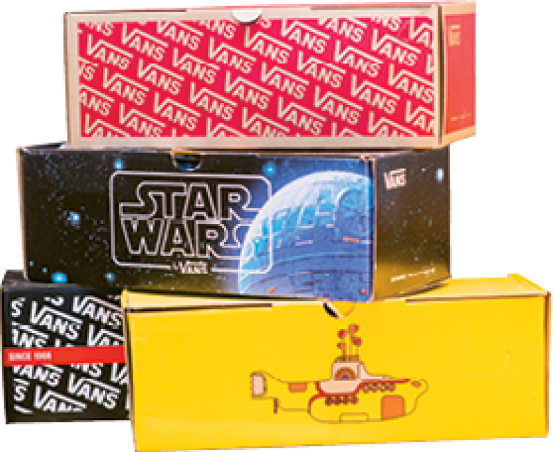 """Shoe Guy: """"I have 72 pairs of Vans—and the boxes—including the Star Wars and Beatles styles, boots, and high-tops."""""""