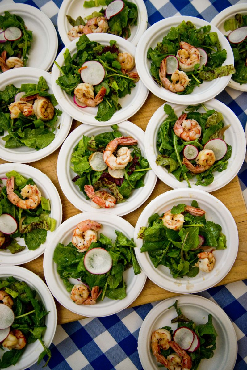 Poogan's Porch presented a pan-roasted spicy shrimp salad using ingredients from Abundant Seafood and Lowland Farms.