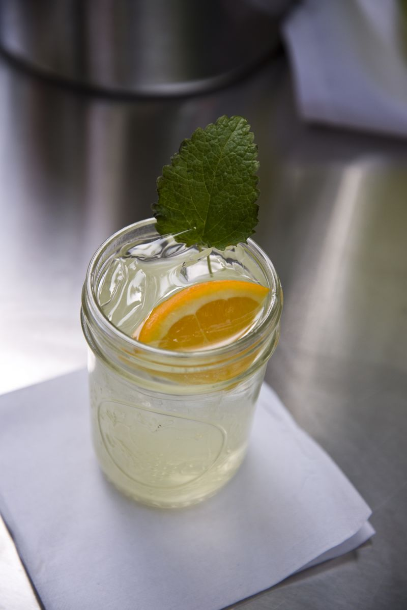 Firefly moonshine, lemonade, club soda, orange, and fresh lemon thyme make up the Firefly Stinger- a refreshingly tasty drink perfect for a warm afternoon in the Lowcountry.