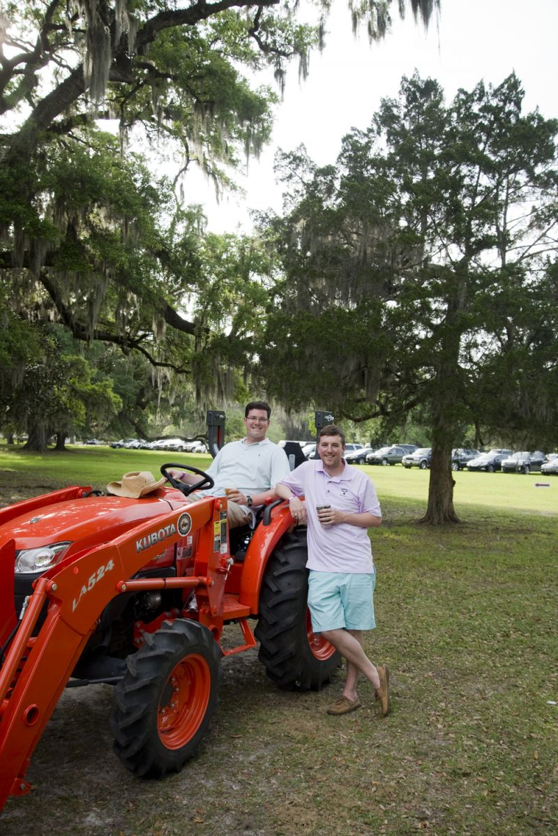 """We're actually qualified to sit on the tractor because we're from Texas."" Texas natives Matt Skains and Daniel Weizel are in town with their supper club to try all of the great local food that Charleston has to offer."
