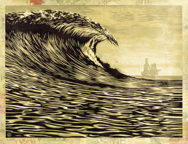 This New Wave Is A Little Slick For My Taste by Shepard Fairey, 2014, hand-painted  multiple: silk screen and mixed-media collage on paper, 37 x 49 inches, Edition of 10