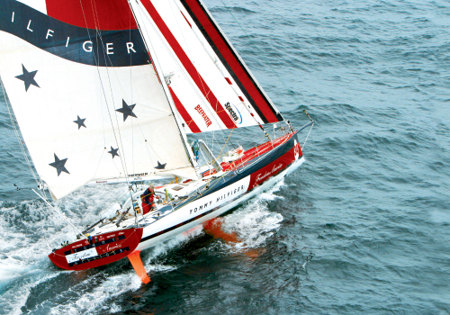 In December 2002, Brad Van Liew departs Cape Town, South Africa, and heads into the Southern Ocean on the third leg of his winning Around Alone voyage aboard Tommy Hilfiger Freedom America.