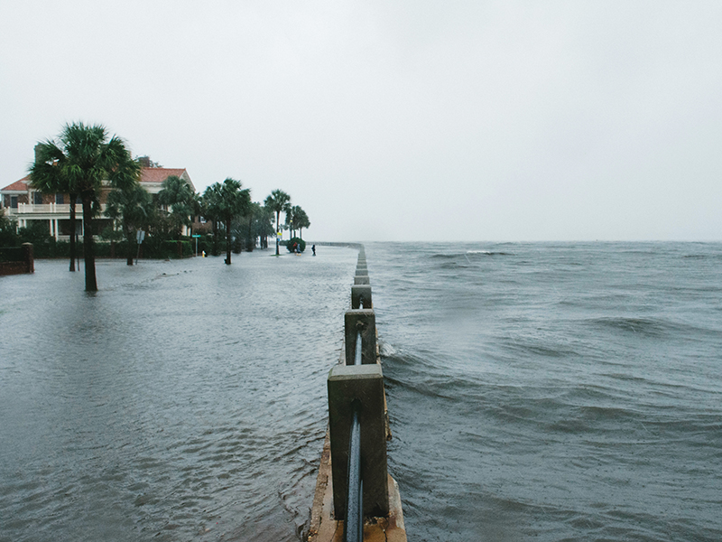 Imperfect Storm: When hurricane inundation, in this case from 2017's Irma, meets high tide, the Battery gets battered. Pictured here, Murray Boulevard and the Low Battery, with an eight-foot, one-inch tide, one hour and 25 minutes before predicted high tide. Photograph by Jared Bramblett